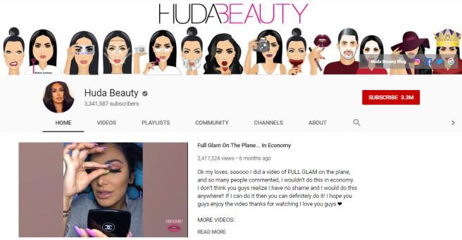 Huda Beauty YouTube homepage.