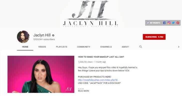 Jaclyn Hill YouTube homepage.
