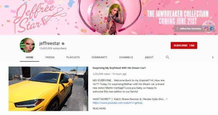 Jeffree Star YouTube homepage.