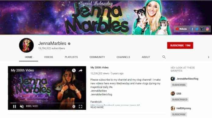 Jenna Marbles YouTube homepage.