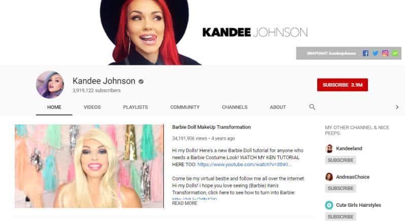 Kandee Johnson YouTube homepage.