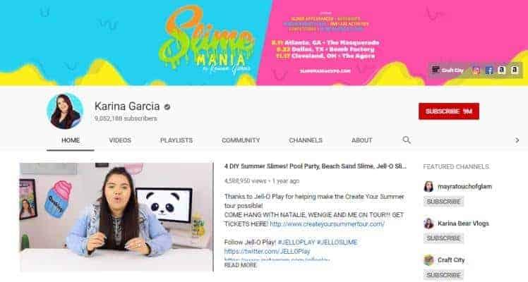 Karina Garcia YouTube homepage.
