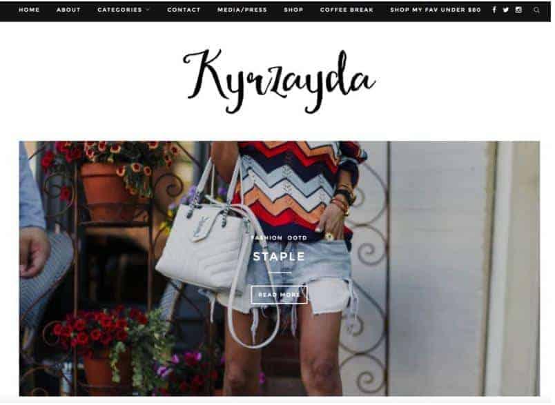 Kyrzayda website homepage.