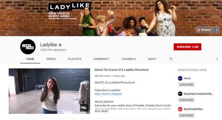 LadyLike YouTube homepage.