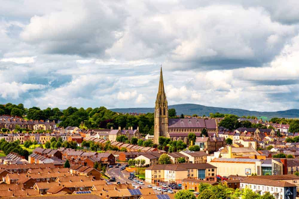 Aerial view of Londonderry City in Ireland.