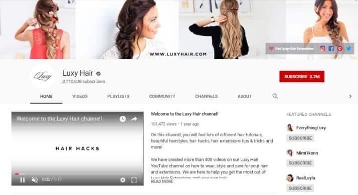 Luxy Hair YouTube homepage.