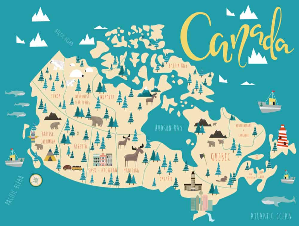 Map of Canada.