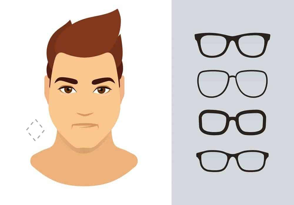 An illustration of the types of glasses for men with a diamond-shaped face.