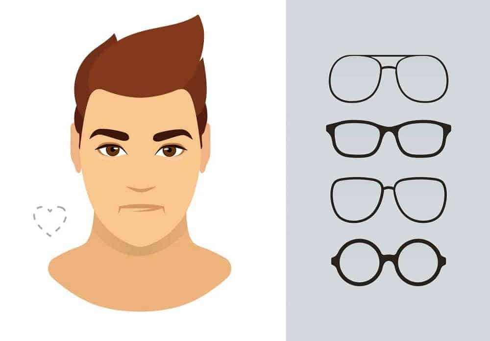 An illustration of the types of glasses for men with a heart-shaped face.