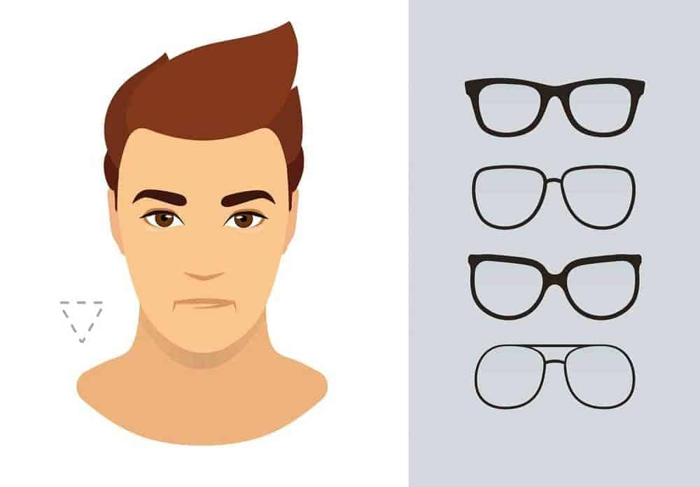 An illustration of the types of glasses for men with an inverted triangle-shaped face.
