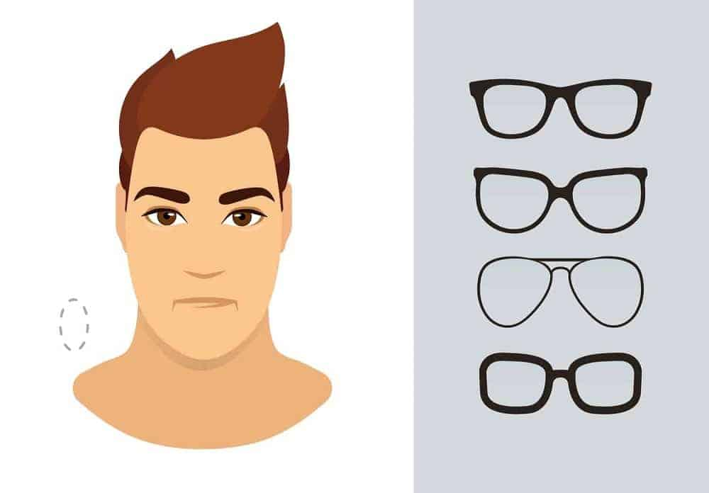 An illustration of the types of glasses for men with an oblong-shaped face.