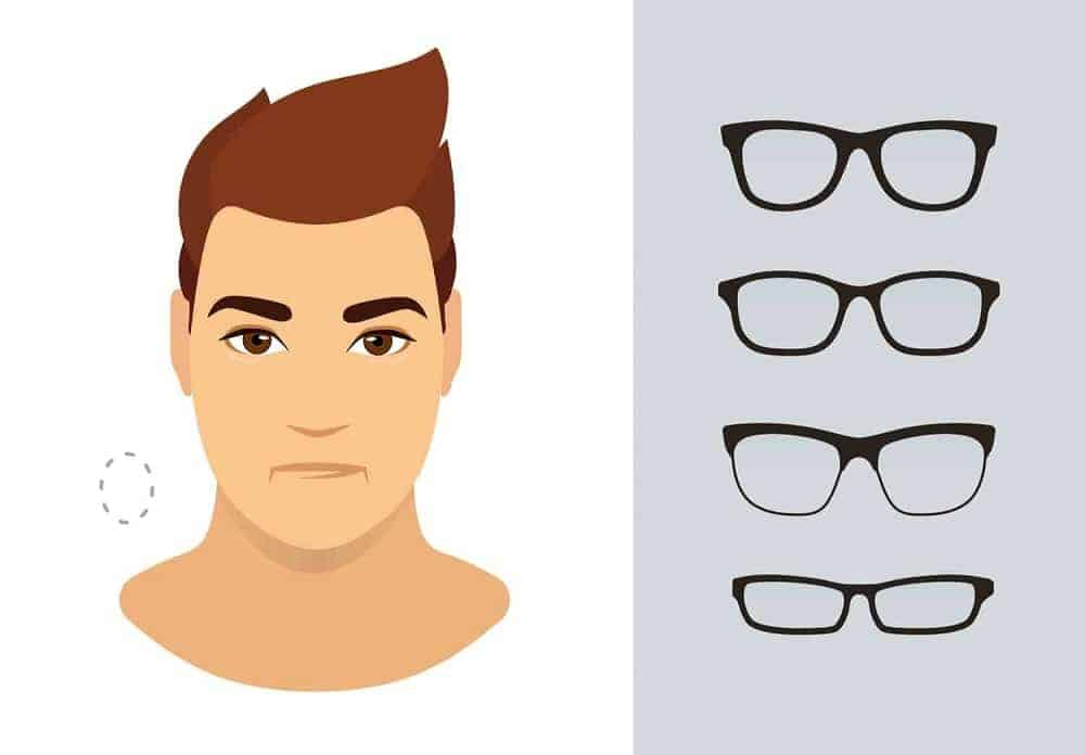 An illustration of the types of glasses for men with an oval-shaped face.