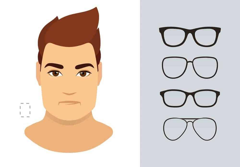 An illustration of the types of glasses for men with a rectangle-shaped face.