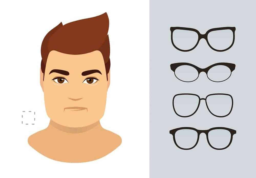 An illustration of the types of glasses for men with a square-shaped face.