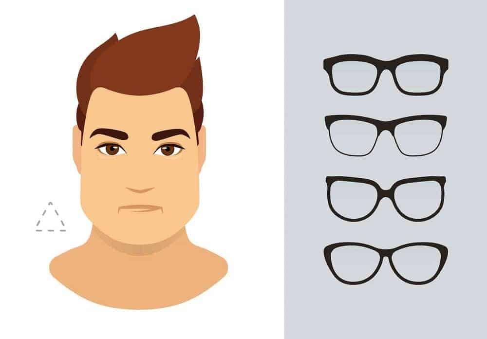 An illustration of the types of glasses for men with a triangle-shaped face.