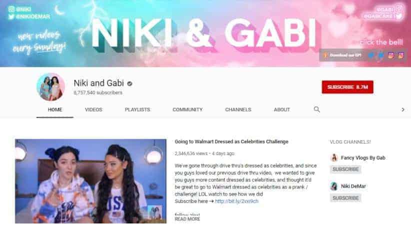 Niki and Gabi YouTube homepage.