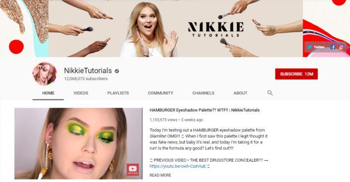 NikkieTutorials YouTube homepage.