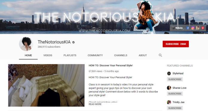 The Notorious KIA YouTube homepage.