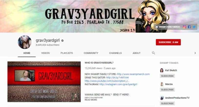 Rachel Meyer YouTube homepage.