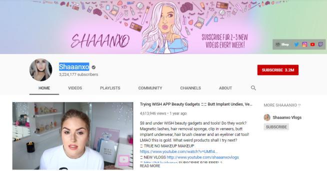 Shaaanxo YouTube homepage.