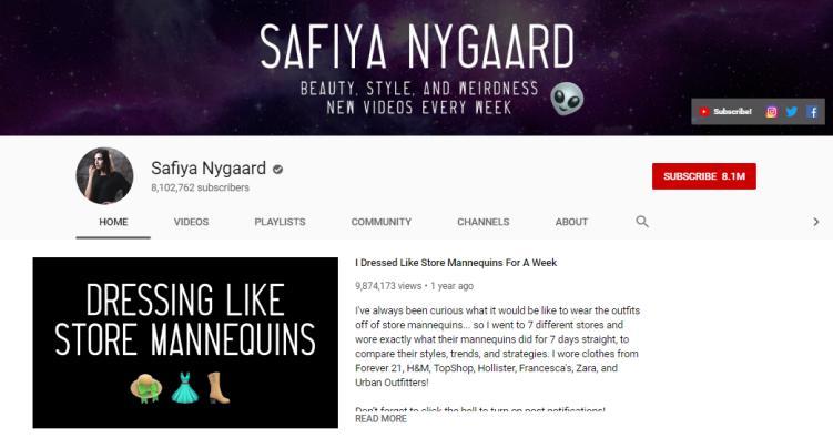 Sophia Nygaard YouTube homepage.