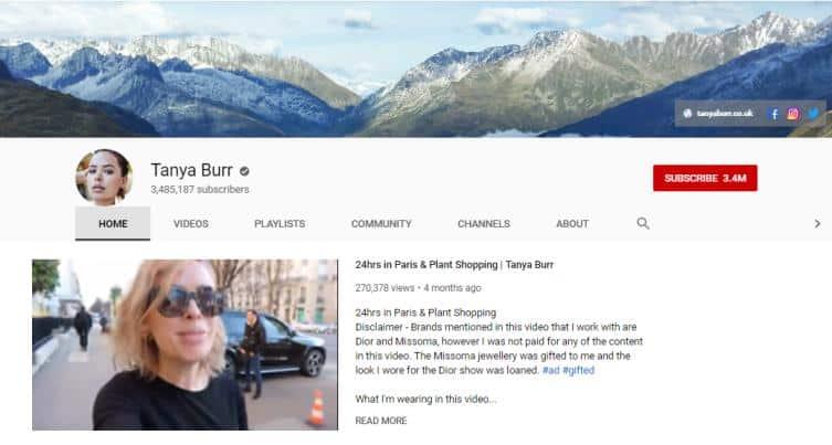 Tanya Burr YouTube homepage.
