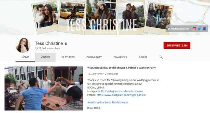 Tess Christine YouTube homepage.