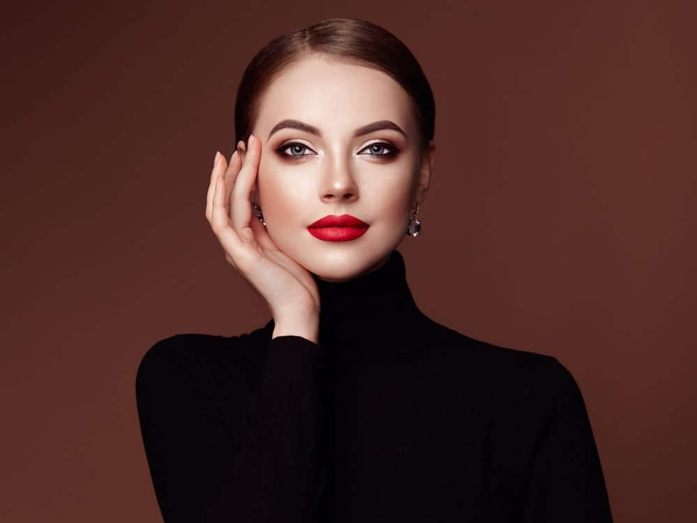 A Beautiful Woman in a Black Turtleneck Sweater
