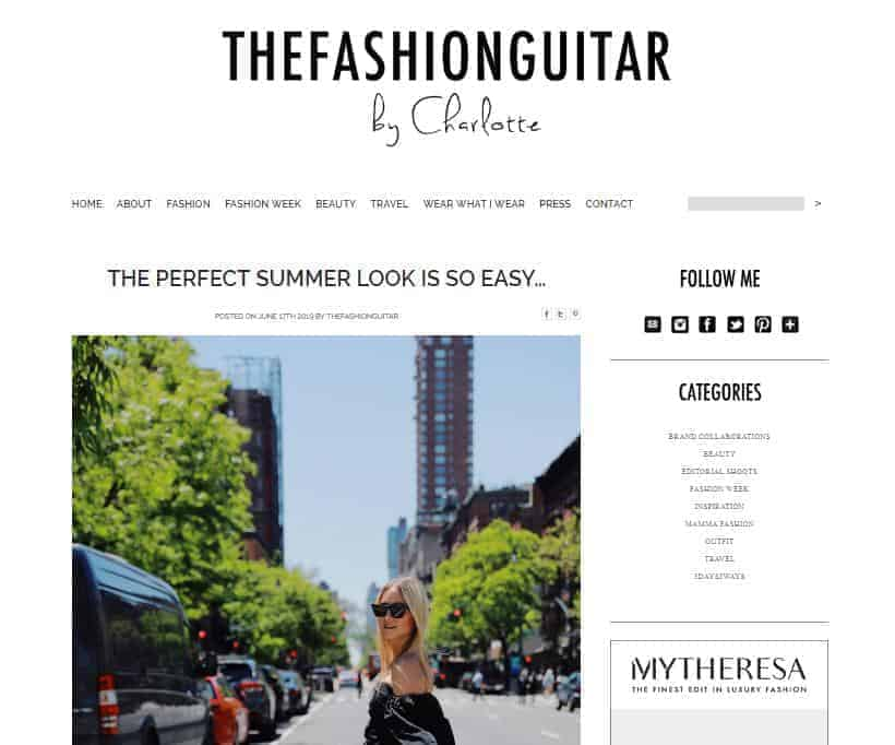 The Fashion Guitar website homepage.