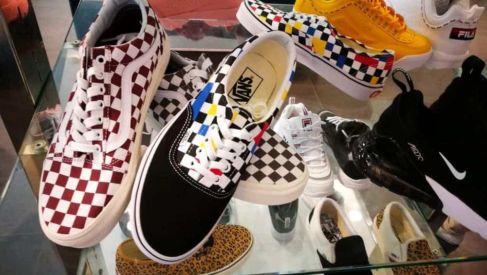 Many Vans sneakers.