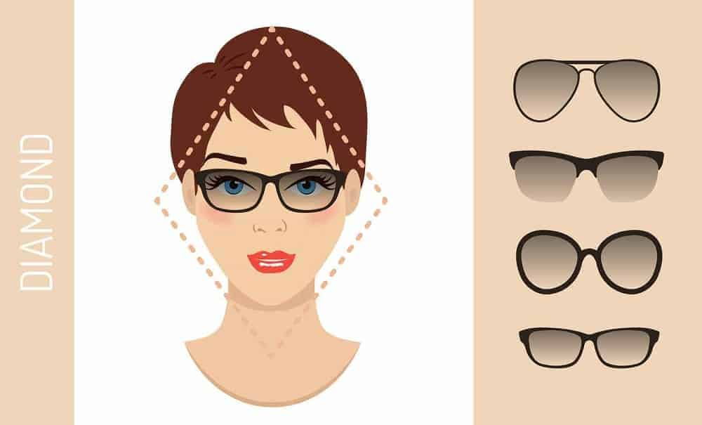 An illustration of the types of glasses for women with a diamond-shaped face.