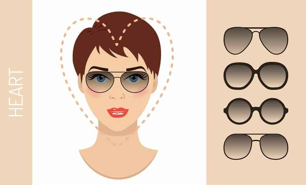 An illustration of the types of glasses for women with a heart-shaped face.