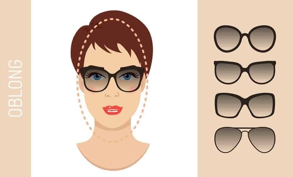 An illustration of the types of glasses for women with an oblong-shaped face.