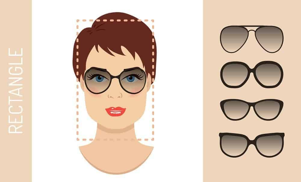 An illustration of the types of glasses for women with a rectangle-shaped face.