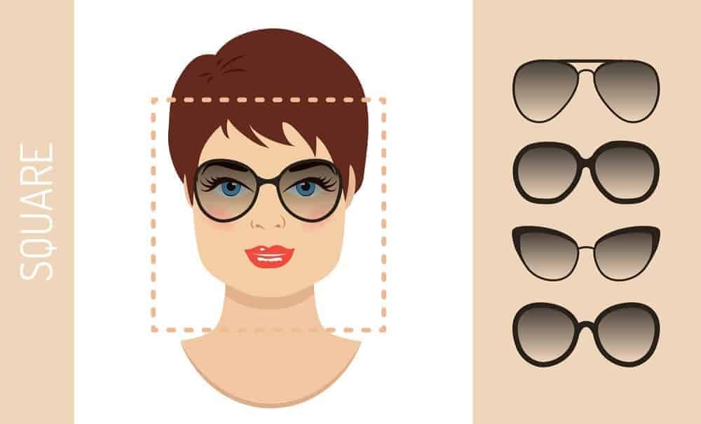 An illustration of the types of glasses for women with a square-shaped face.