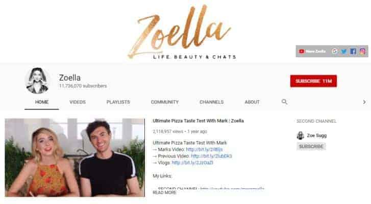 Zoe Sugg YouTube homepage.