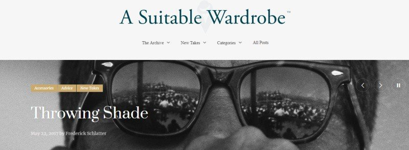 A Suitable Wardrobe blog featuring a man's shades on the cover.