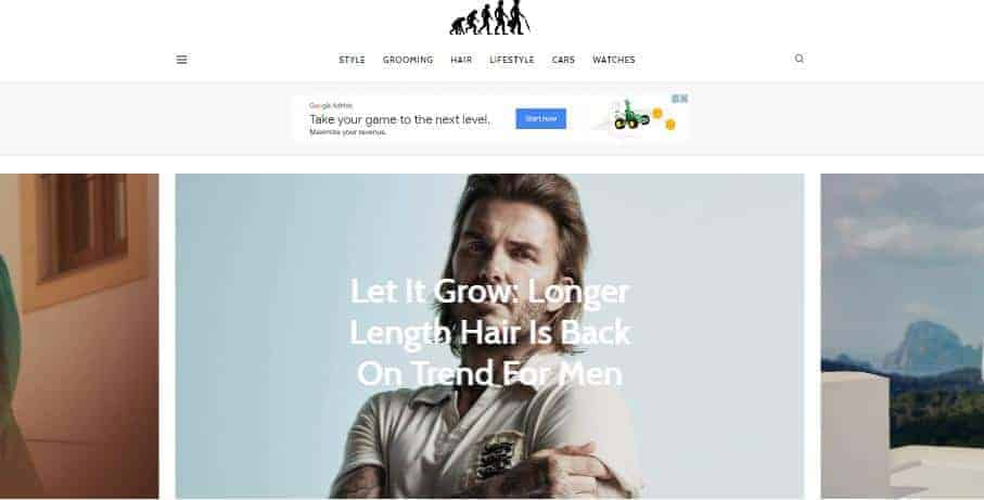 Ape To Gentleman's home page focuses on the men's hairstyle and fashion.