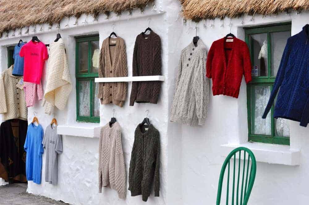 Aran sweaters displayed