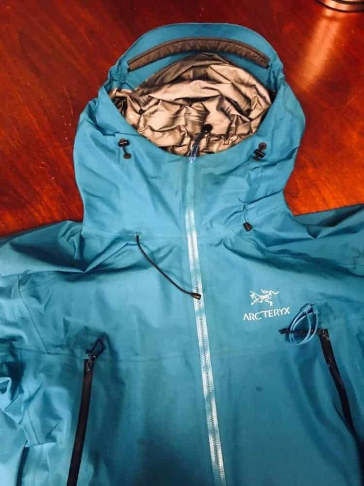 Photo of the hood of the Arc'Teryx Beta LT jacket.