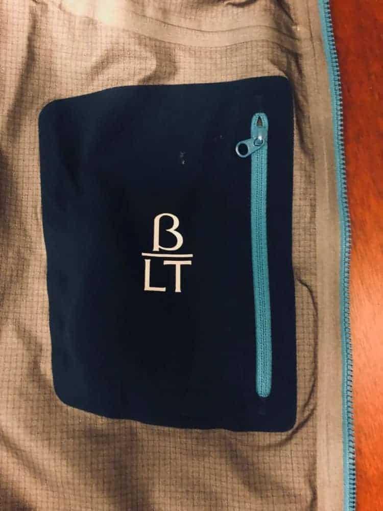 Photo of the inside pocket of the Arc'Teryx Beta LT jacket.