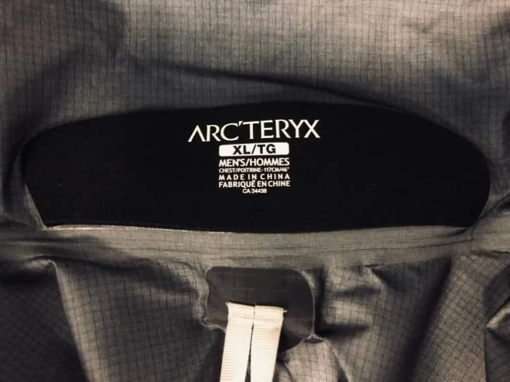 Arc'Teryx Beta LT jacket for men label.