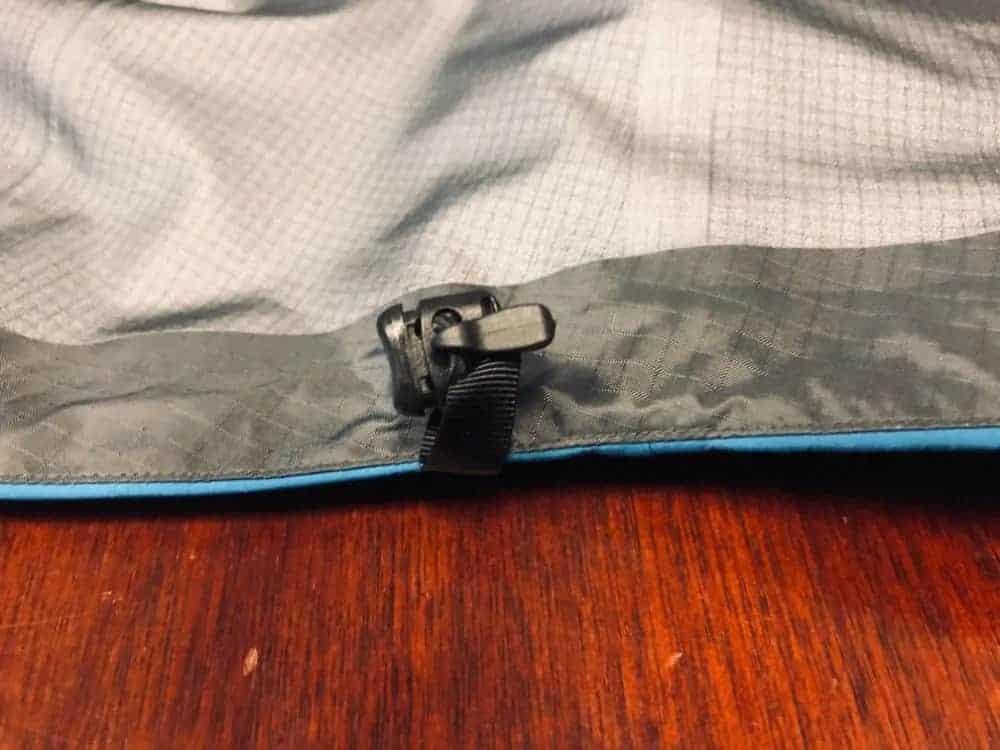 Bottom waist adjustment for Arc'Teryx Beta LT jacket.