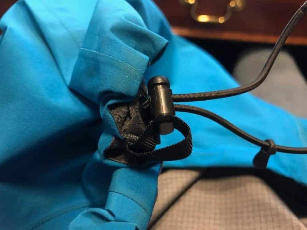 Close up of the body adjustment mechanism for Arc'Teryx Beta LT jacket.