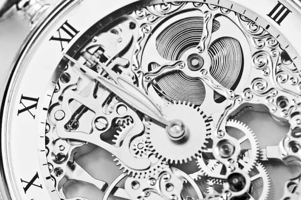Close view of a watch mechanism.