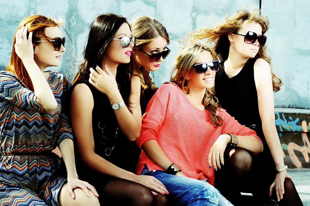 A group of friends wearing sunglasses.