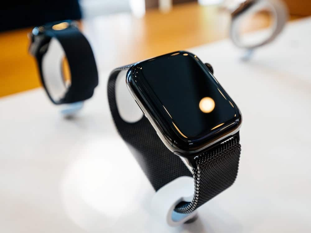 A close look at an Apple watch with a Milanese Loop.
