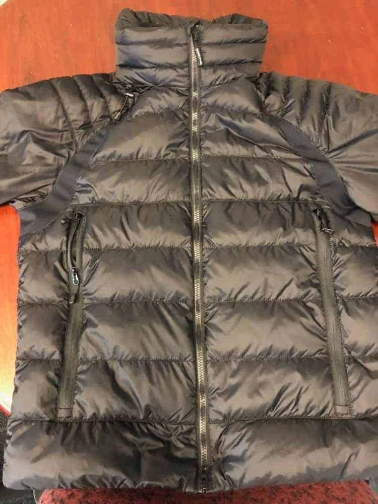 Front view of Canada Goose jacket zipped up.