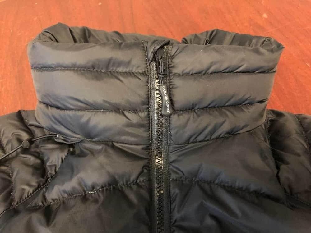 Canada Goose jacket collar and zipper.