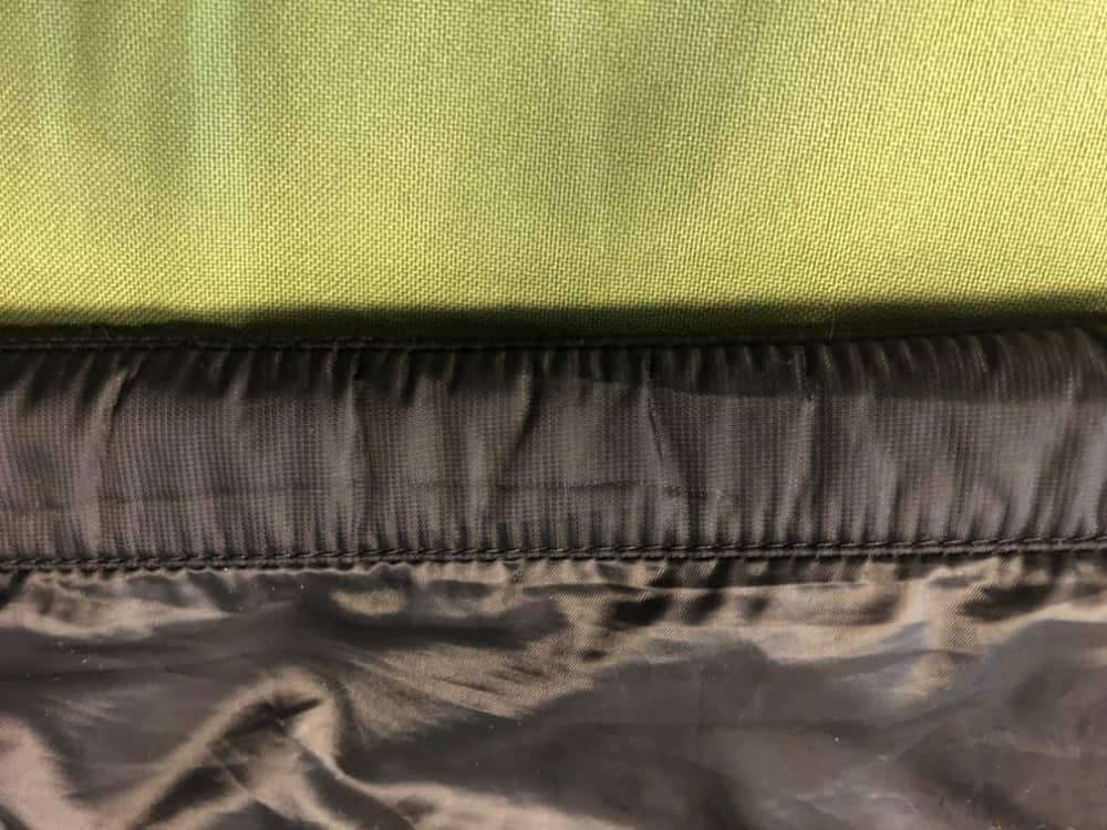 Canada Goose bottom jacket hem close up photo.